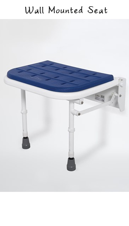 Padded Wall Mounted Folding Shower Seat With Legs